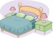 Colorful Illustration of a Double Bed with Lampshades on Both Sides