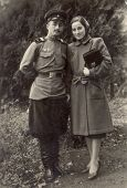 Vintage photo shows soviet army sergeant and his wife
