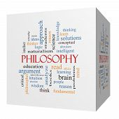 picture of thinker  - Philosophy 3D cube Word Cloud Concept with great terms such as education study thinker and more - JPG