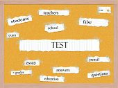 stock photo of pegboard  - Test Corkboard Word Concept with great terms such as teachers school essay and more - JPG