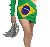 Futuristic Young Woman With Flag From Brazil On Her Dress