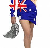 Futuristic Young Woman With Flag From Australia On Her Dress