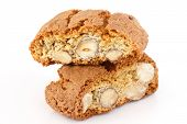 Classic Italian biscotti with nuts on white.