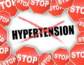 stock photo of hypertensive  - Vector illustration of stop hypertension background concept - JPG