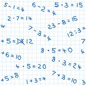 image of subtraction  - vector illustration of a seamless pattern of mathematics homework on checkered paper - JPG