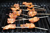 Teriyaki Chicken Grilling On A Hot Summer Day