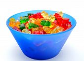 foto of gummy bear  - Gummy bears candy in a colorful bowl - JPG