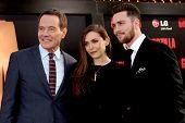 LOS ANGELES - MAY 8:  Bryan Cranston, Elizabeth Olsen, Aaron Taylor-Johnson at the