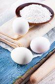 Eggs and flour for dough