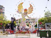 Street Festival Puppet Bonfire Monument With Sun