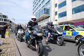 HASTINGS, ENGLAND - MAY 5, 2014: Motorcyclists ride along the seafront during the annual May Day bik