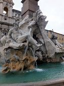 ROME, ITALY - April 28, 2014: Detail of the Fountain of the Four Rivers in Piazza Navona Rome Italy.