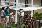 Living historian giving lecture at the War of 1812 Commemoration in Warrenton, Virginia.