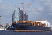 Hamburg - Container Vessel At Harbor