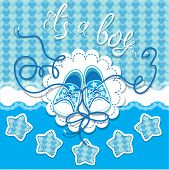 Holiday Dard Children Gumshoes On Blue Background - Design For Boys. Invitation With Handwritten Tex