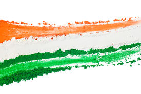 picture of indian flag  - The tricolor of the Indian national flag painted with dye powder and isolated on white - JPG