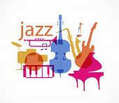 Colorful Jazz instruments set. isolated on white. illustration