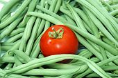 pic of green bean  - a tomato and a pile of french beans - JPG