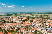 Beautiful town of Mikulov with a castle South Moravia, Czech Republic