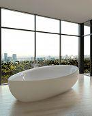 3D Rendering of White Shiny Ceramic Bathtub at Elegant Bathroom with Transparent Large Glass Windows.