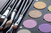 Group decorative cosmetics for makeup. Still life..