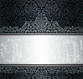 Black & silver luxury vintage wall paper background