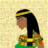 Ancient Egyptian Woman Profile Over A Background With Egyptian Hieroglyphs