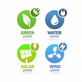 Set Of Green - Eco - Renewable Icons