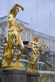 Golden Sculptures By Fountains Grand Cascade In Pertergof, Saint-petersburg