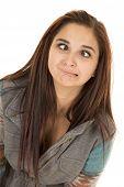 Woman Close Dark Hair Expression Eyes Crossed