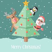 Christmas Card With Fir Tree And Christmas Characters