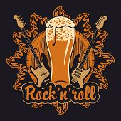 foto of guitar  - banner for the pub with live music with a beer keg and guitars - JPG