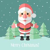 Christmas Card With Santa Claus And Fir Trees