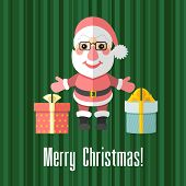 Christmas Card With Santa Claus And Presents