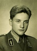 POLAND, CIRCA SIXTIES: Vintage portrait of man in forester uniform, vintage photo