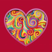Vector valentine greeting card with colorful hearts against a red background