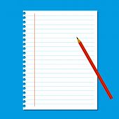 Blank stack white note paper on blue background red pencil