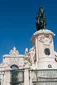 Statue Of King Jose I And The Triumphal Arch In Lisbon, Portugal