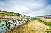 Wooden Pier In Fecamp Village Harbor. Normandy France.