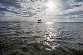 picture of pontoon boat  - Pontoon floating in the water of Thailand - JPG