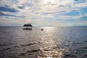stock photo of pontoon boat  - Pontoon floating in the water of Thailand - JPG