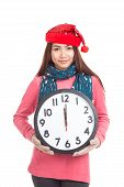 Asian Girl With Red Christmas Hat Show Midnight Clock