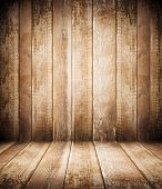 image of log fence  - Background of brown old natural wood planks Dark aged empty rural room with tree floor pattern texture Closeup gold view surface of retro pine red logs inside vintage light warm interior with shadows - JPG