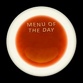An alphabet soup with the words menu of the day