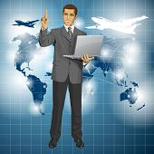 Travel concept. Vector business man shows something with his finger