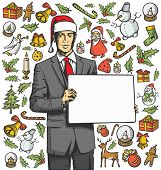Vector Card with Man, and Christmas, and New Year elements