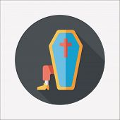 Coffin Falt Icon With Long Shadow,eps10