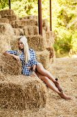 picture of shepherdess  - Sexy fashion woman in cow girl country style on hay stack - JPG