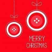 image of applique  - Two hanging red button merry Christmas ball with bow dash line thred applique Card Flat design Vector illustration - JPG