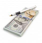 dollars money banknotes isolated on white background